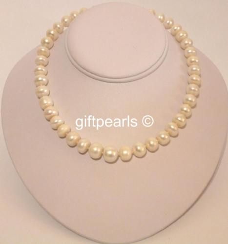 Large 12 - 13mm white flat-top pearls with Sterling silver clasp.OUT OF STOCK